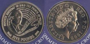 "Великобритания. 5 фунтов. 1998 год. ""Fiftieth Birthday of H.R.H. the prince of Vales"""